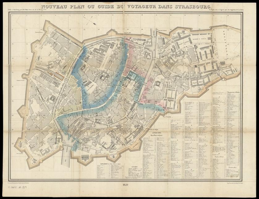 Nouveau plan ou guide du voyageur dans Strasbourg / gravé par F. Delamare