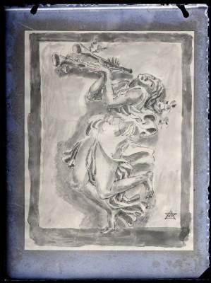 Isadora dansant et jouant de l'aulos, oeuvre sur papier